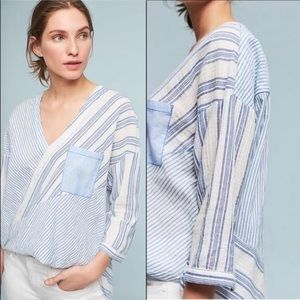 Anthro Holding Horses blue white striped blouse XS